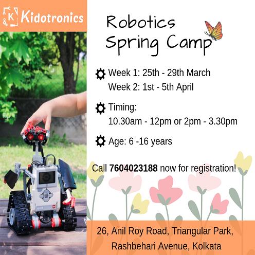 Robotics Spring Camp At Kidotronics, kolkata for 6-16year old kids.